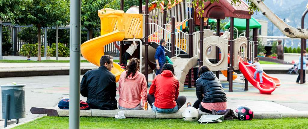 People sitting in a playground