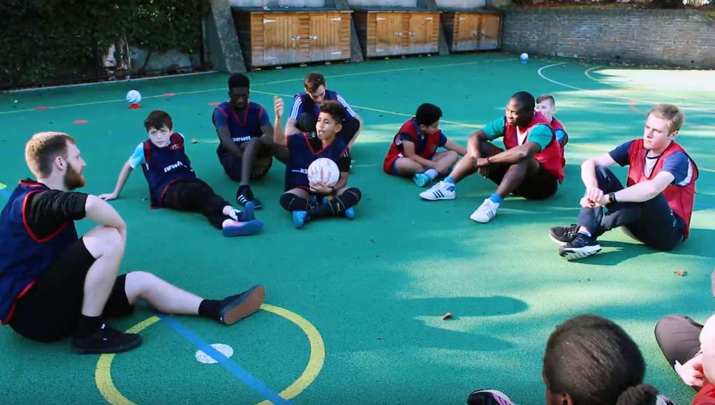 Children at a sports ministry project