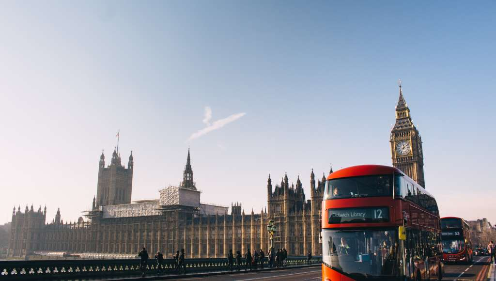 Houses of parliament and bus