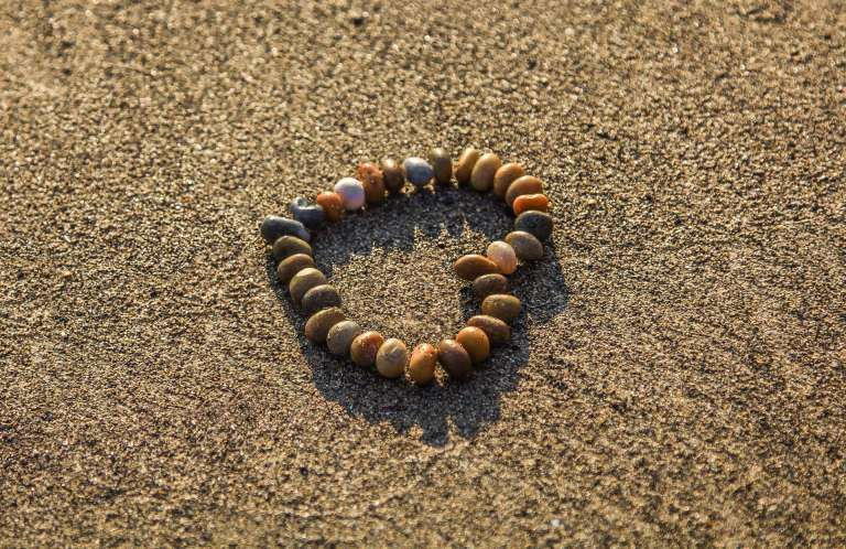 Heart made from pebbles
