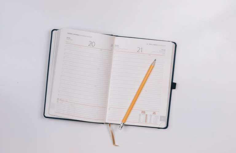 open, diary, time, pencil