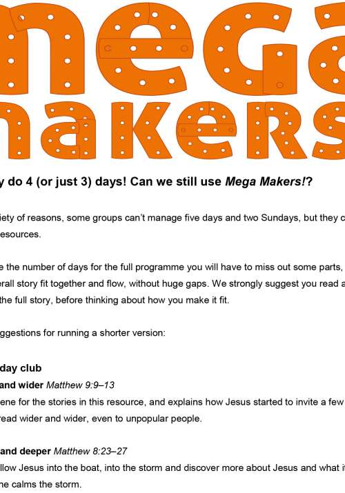 How to run Mega Makers! for only 3 or 4 days | Scripture Union