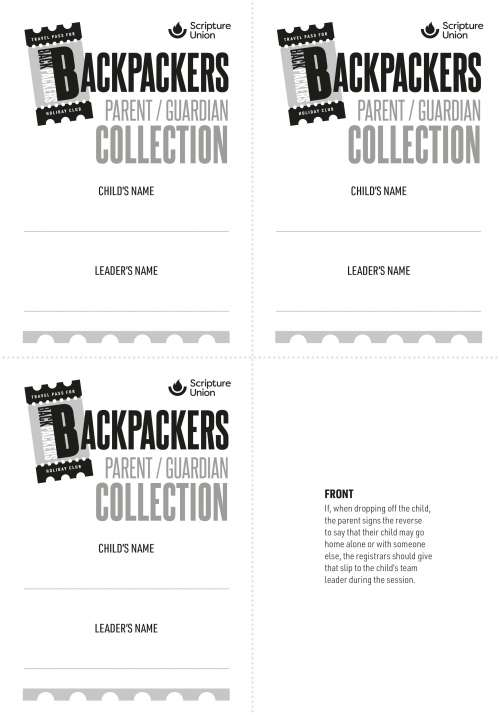 Backpackers: Collection slips