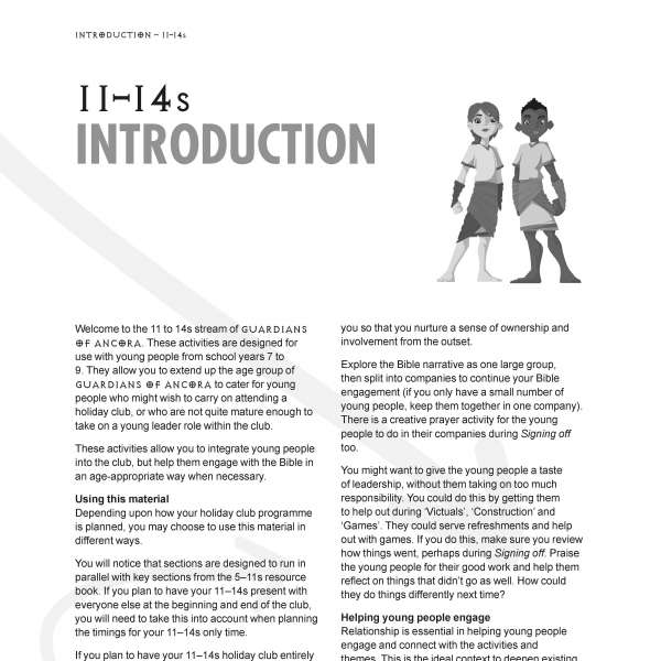 Guardians of Ancora for 11 to 14s: introduction