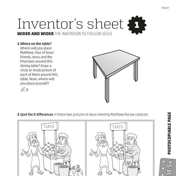 Mega Makers! Inventor's sheet 1