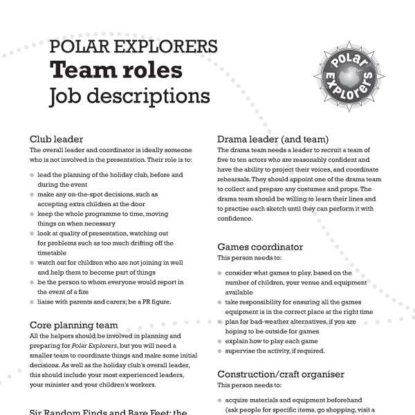 Polar Explorers job descriptions
