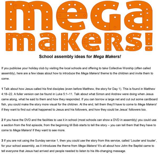 Mega Makers! assembly ideas