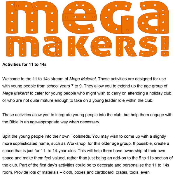 Mega Makers! 11 to 14s: Introduction
