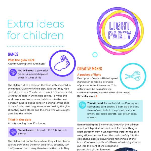 Light Party extras for children