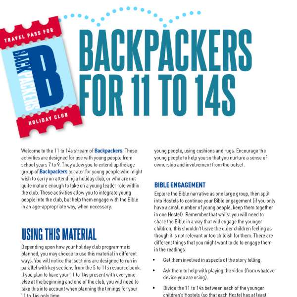 Backpackers for 11 to 14s