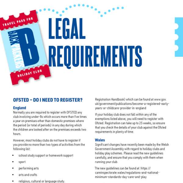 Backpackers: Legal requirements