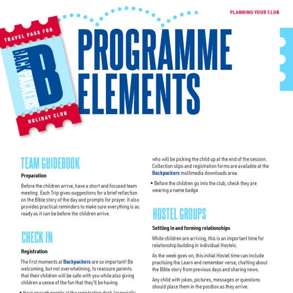 Backpackers programme elements