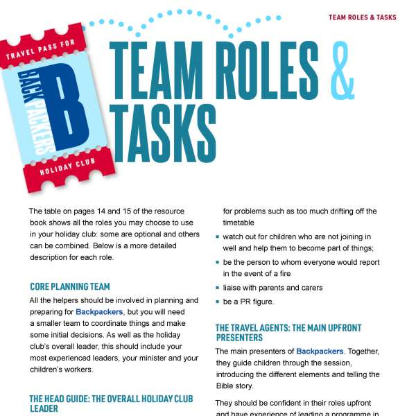 Backpackers: Team roles and tasks