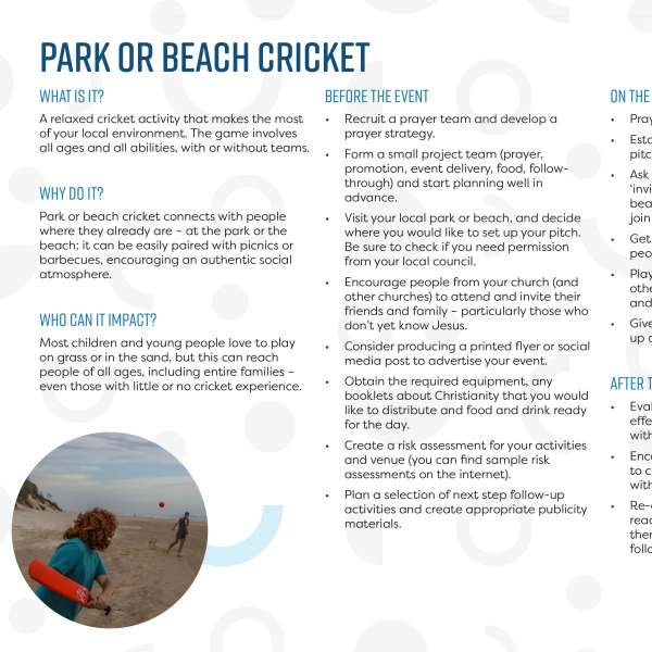 Park or beach cricket