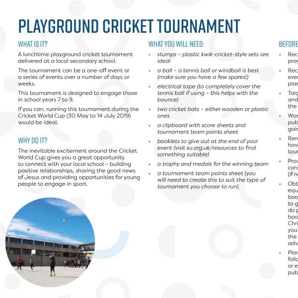 Playground cricket tournament