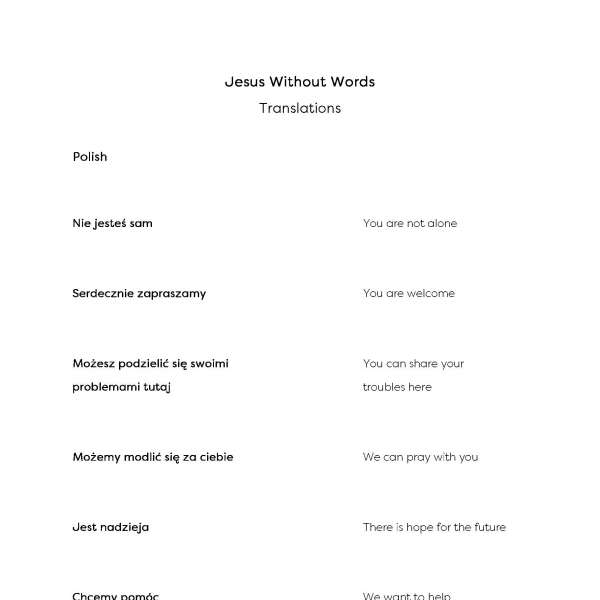 Jesus Without Words translation sheet