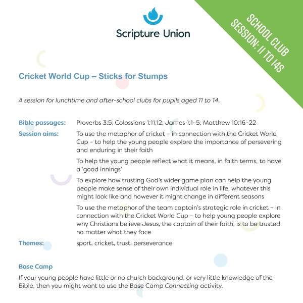Sticks for Stumps: School club session for 11 to 14s