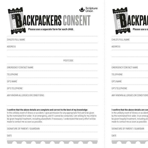 Backpackers: Consent form