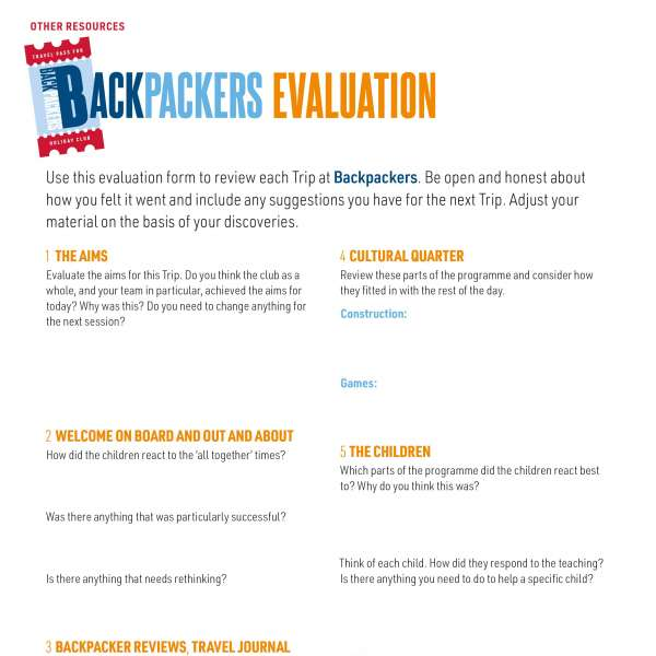 Backpackers: Evaluation form