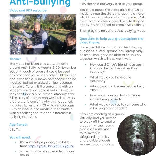 Anti-bullying PDF resource screenshot